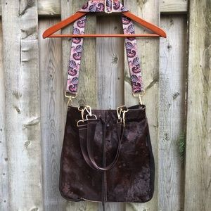 Suede & Cowhide Shoulder/Cross body Bag Purse